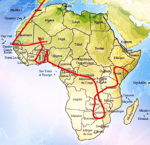 Carte du parcours africain de Gilles Entajan